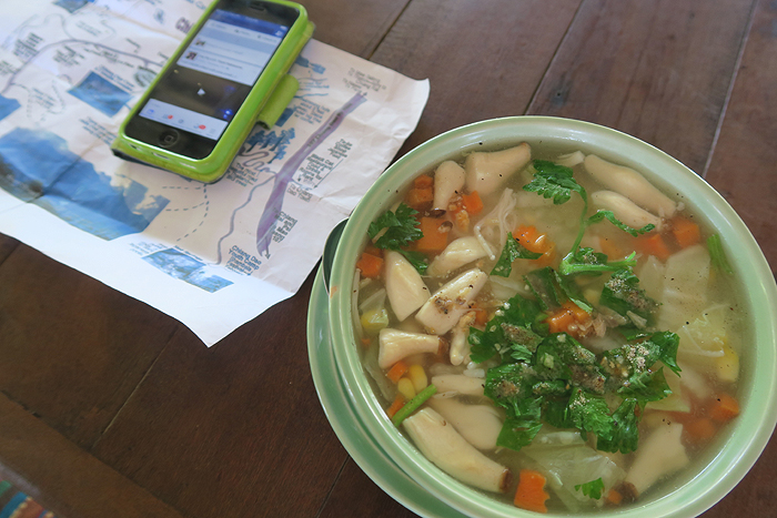 Thai vegetable rice porridge