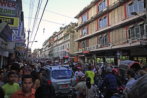 traffic in Thamel, new street thamel