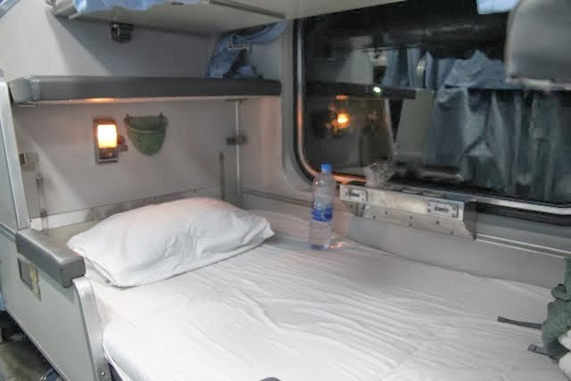 train bed, bed on a thai overnight train