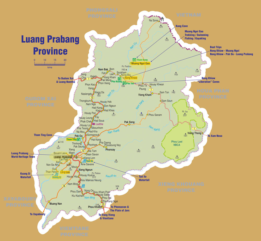map of luang prabang, travel guides on laos luang prabang
