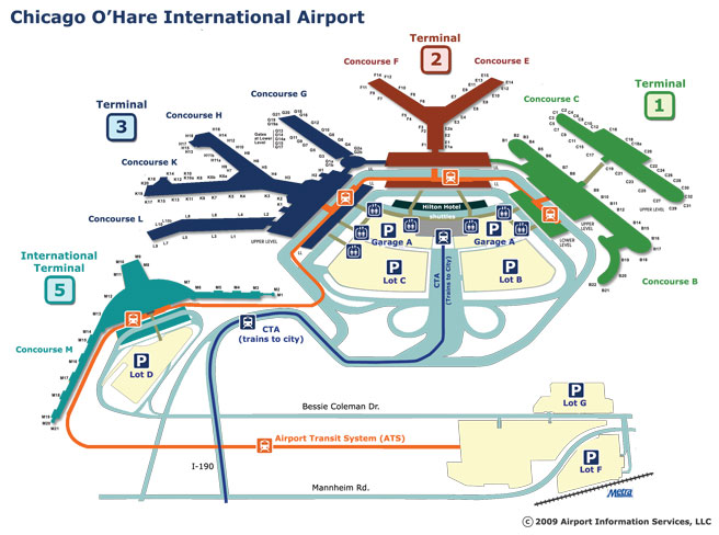 terminal maps, chicago ohare airport, airport terminal maps