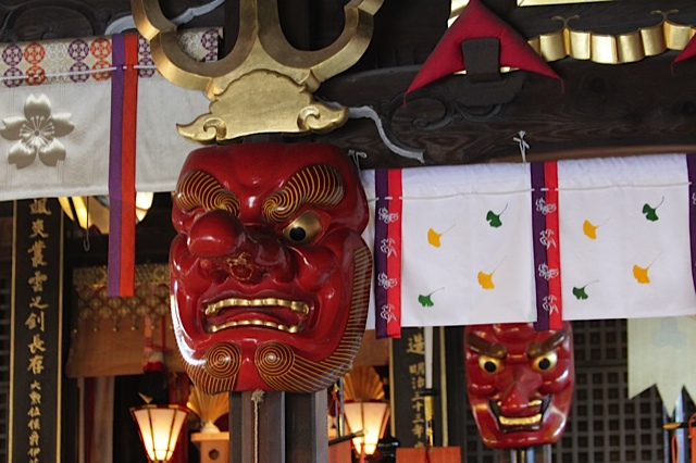 japanese temple mask, Kushida shrine fukuoka, fukuoka attractions,