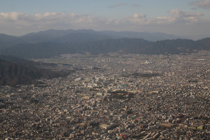 view of fukuoka from the airplane, airplane view of japan
