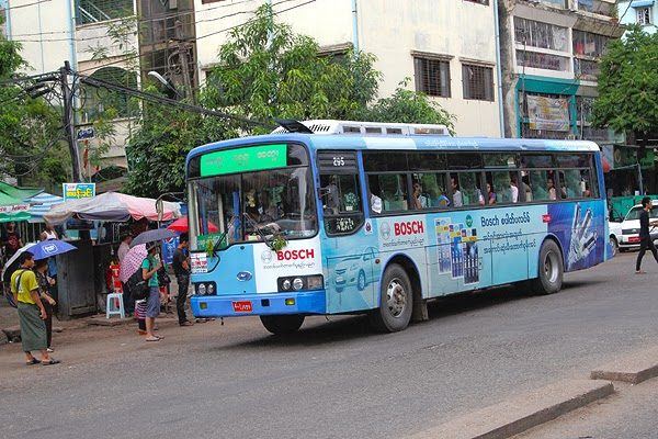 yangon bus, myanmar bus, how to catch a bus in a foreign country