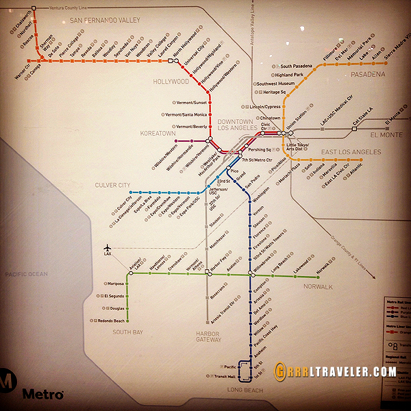 LA metro map, los angeles subway only map