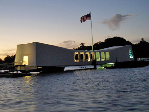 arizona memorial at night