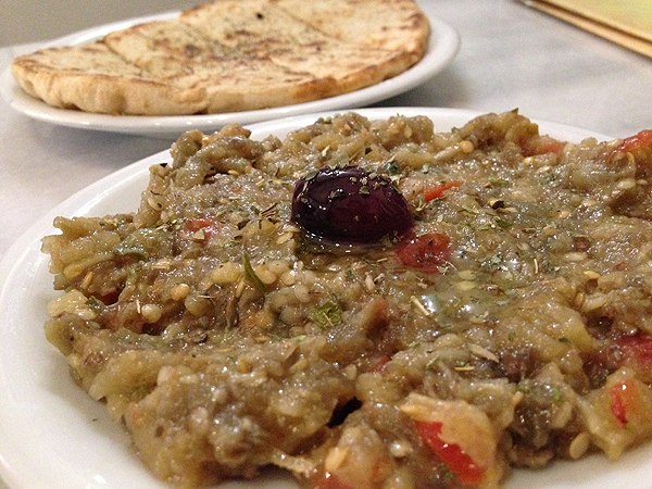 aubergine salad, greek eggplant salad