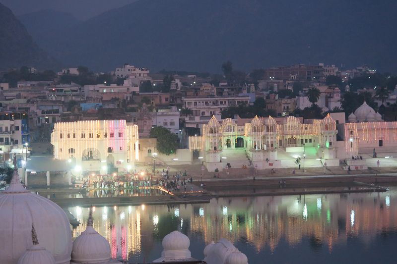 pushkar lake night, pushkar lake