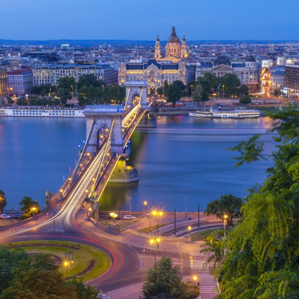 Budapest Chain Bridge River and Basilica View