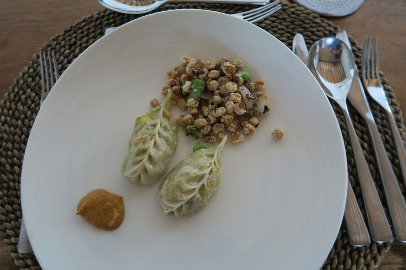 Momos and pepper corn, taj safaris hotel nepal,